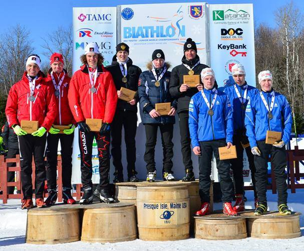 Canada (l) won silver in the youth men's relay. Russia (c) took first and Finland (r) was third. Photo: Biathlon Canada.