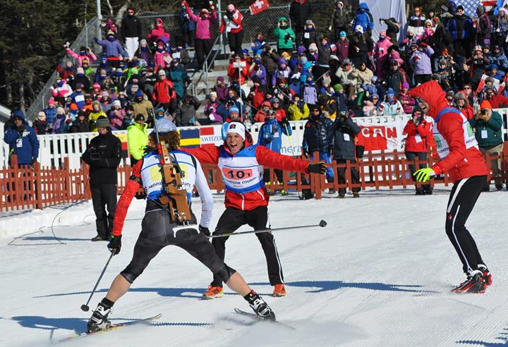 The Canadians celebrate as Brunotte crosses the line for silver. Photo: Biathlon Canada.