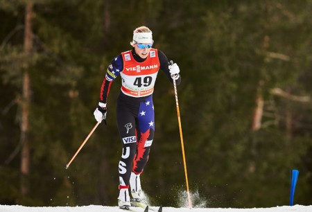 Kikkan Randall racing in the five k classic in the fourth stage of the 2015 Tour de Ski (Photo: Fischer/Nordic Emphasis)