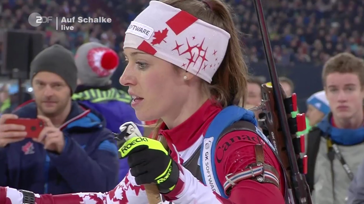 Canada's Megan Tandy at the start of the pursuit race during the 2016 Biathlon auf Schalke invitational event. (Photo: ZDF broadcast)