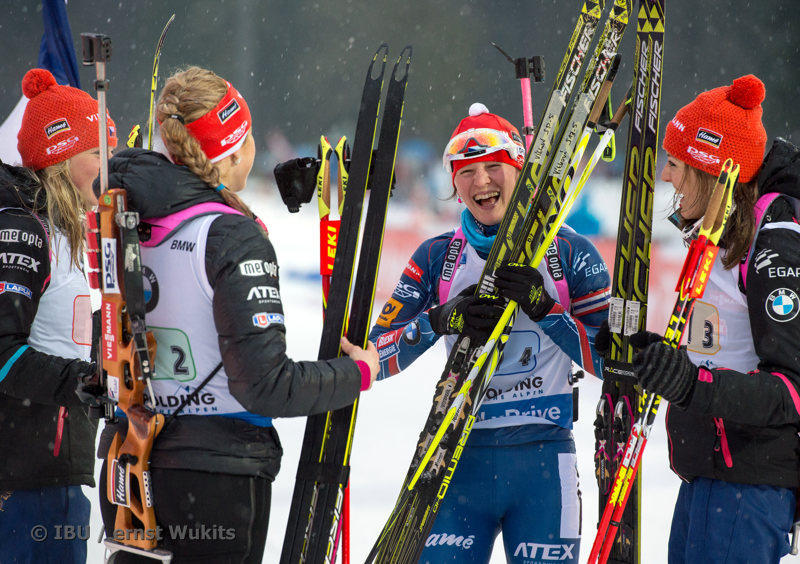 The Czech Republic women's four x six k crew celebrates its second-straight relay win on Thursday at the IBU Planet Cup in Ruhpolding, Germany. (Photograph: IBU/Ernst Wukits)