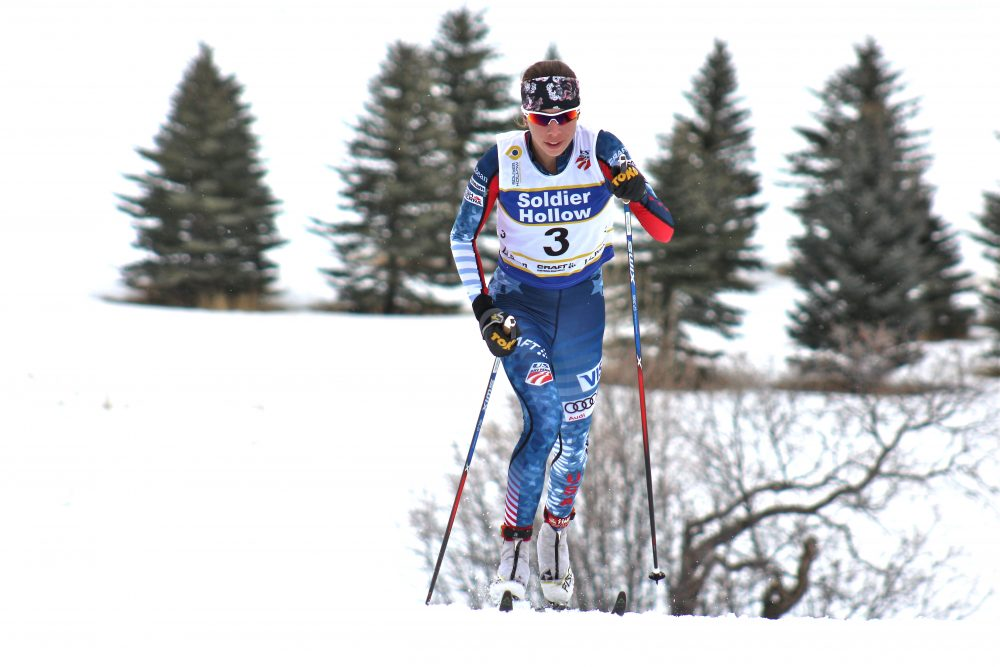 Katharine Ogden (Stratton Mountain School) of the U.S. Ski Team D-team during her final lap of the women's 20-kilometer classic masst start on Tuesday at U.S. nationals in Midway, Utah.