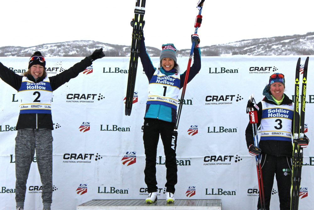 The women's 20 k classic mass start podium on Tuesday at 2017 U.S. nationals at Soldier Hollow, with winner Chelsea Holmes (c), runner-up Katharine Ogden (l), and third-place finisher Caitlin Patterson.