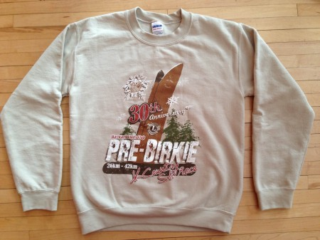 The commemorative sweatshirt for the Pre-Birkie, circa 2012.