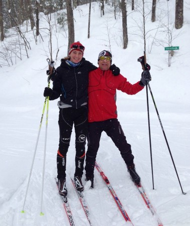 The author and her dad out for a ski before the Birkie.