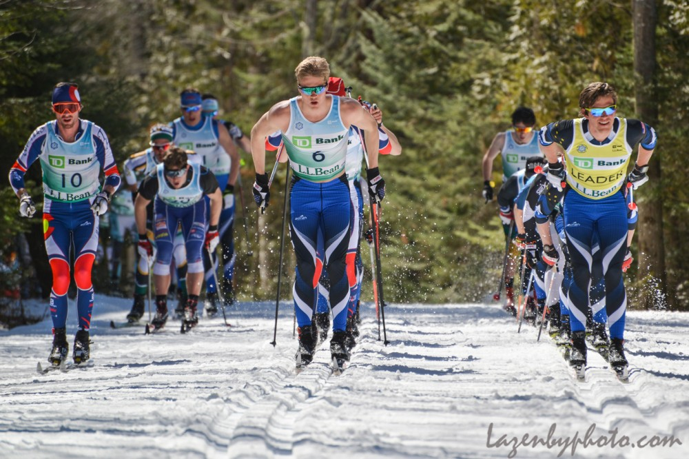 The start of the men's 50 k at 2016 U.S. Distance Nationals on Saturday in Craftsbury, Vt. (Photograph: John Lazenby/Lazenbyphoto.com)