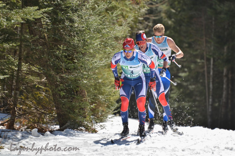 Left to right: Noah Hoffman of Ski and Snowboard Club Vail, Tad Elliott also of Ski and Snowboard Club Vail, and Erik Bjornsen of Alaska Pacific University for the duration of the men's 50 k at 2016 U.S. Distance Nationals on Saturday in Craftsbury, Vt. (Photo: John Lazenby/Lazenbyphoto.com)