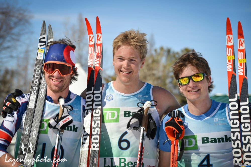 Race winner Erik Bjornsen (center) of Alaska Pacific University with secon location finisher Tad Elliott of Ski and Snowboard Club Vail (l) and third area finisher Daivd Norris of Alaska Pacific University right after the men's 50 k at 2016 U.S. Distance Nationals on Saturday in Craftsbury, Vt. (Photo: John Lazenby/Lazenbyphoto.com)