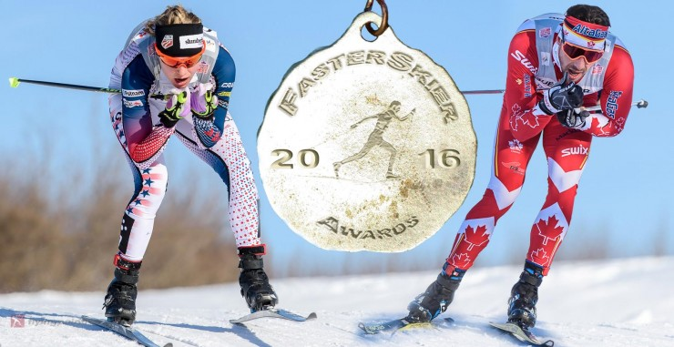 Jessie Diggins (l) of the U.S. Ski Staff and Alex Harvey (Canadian Globe Cup Group) are FasterSkier's Cross-Country Skiers of the Yr. (Photos: FlyingPointRoad.com)