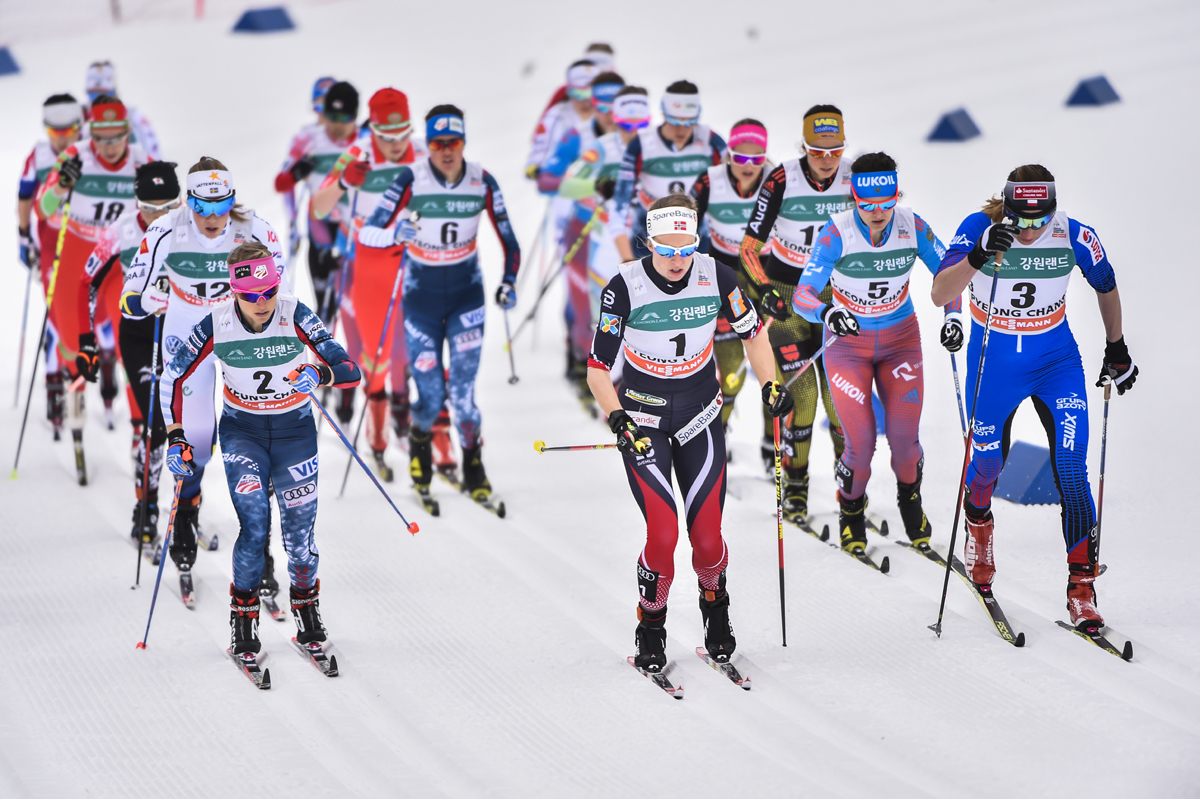 American Liz Stephen (2) skiing at the front of the women's 15 k skiathlon on Saturday, alongside Norway's Silje Øyre Slind (1) and Poland's Justyna Kowalczyk (3), at the World Cup in PyeongChang, South Korea. (Photo: Fischer/NordicFocus)
