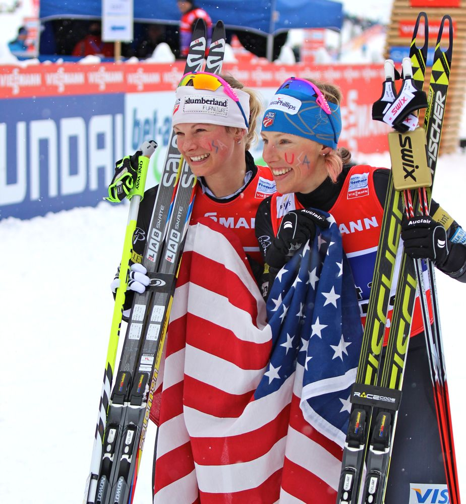 Jessie Diggins and Kikkan Randall, World Champions in the 2013 Team Sprint.