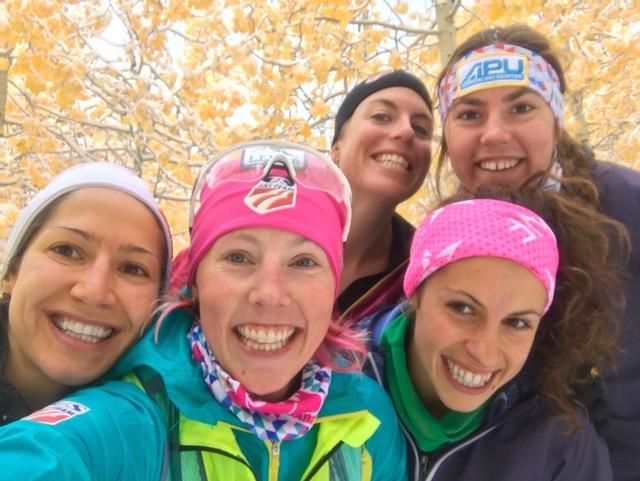 APU training mates, l-r: Chelsea Holmes, Kikkan Randall, Rosie Brennan, Rosie Frankowski, and Becca Rorabaugh. (Photo: Kikkan Randall)