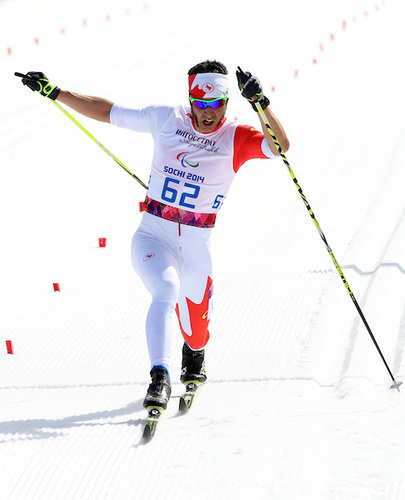 Brian McKeever locking up his eighth-career Paralympic gold and first of the Sochi Winter Games on Monday in the 20 k visually impaired classic race. (Photo Scott Grant/Canadian Paralympic Committee)
