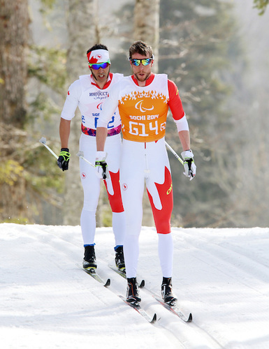 Canadian Brian Mckeever and guide Erik Carleton compete in the cross-country men's 20 k visually impaired classic race at the Sochi 2014 Paralympics in Sochi, Russia. Mckeever went on to win gold. (Photo Scott Grant/Canadian Paralympic Committee)