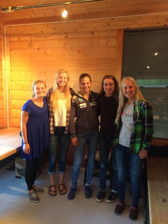 4 U.S. juniors at the Global Junior Camp with Norway's Astrid Jacobsen, who presented to the camp in Sjusjøen, Norway. From left to appropriate: Alayna Sonnesyn, Hailey Swirbul, Jacobsen, Katharine Ogden, and Hannah Halvorsen. (Photo: Hailey Swirbul)