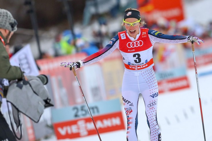 Sophie Caldwell (U.S. Ski Staff) after winning the 1.2 k traditional sprint ultimate at Stage four of the Tour de Ski in Oberstdorf, Germany. (Photo: Marcel Hilger)