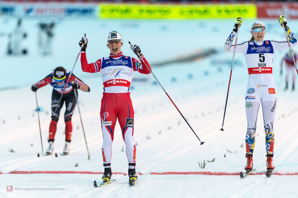 "Norway's Marit Bjørgen (c) celebrates her 15th World Championships gold and record-setting 30th overall medal (between Olympics and World Championships) with a classic-sprint win at 2015 World Championships in Falun, Sweden. ""It took years for her to build up to doing [980 hours],"" said Hawley. (Photo: FlyingPointRoad)"