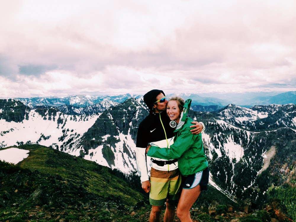 Erika Flowers (r) and Andy Newell at the top of Mount Blackmore in Bozeman, Mont. in June 2014. (Photo: Anya Bean)