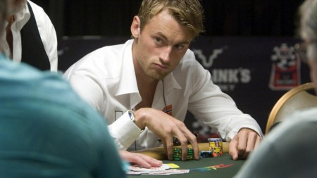 Petter Northug stares down his poker rivals just like he does on the ski trails.