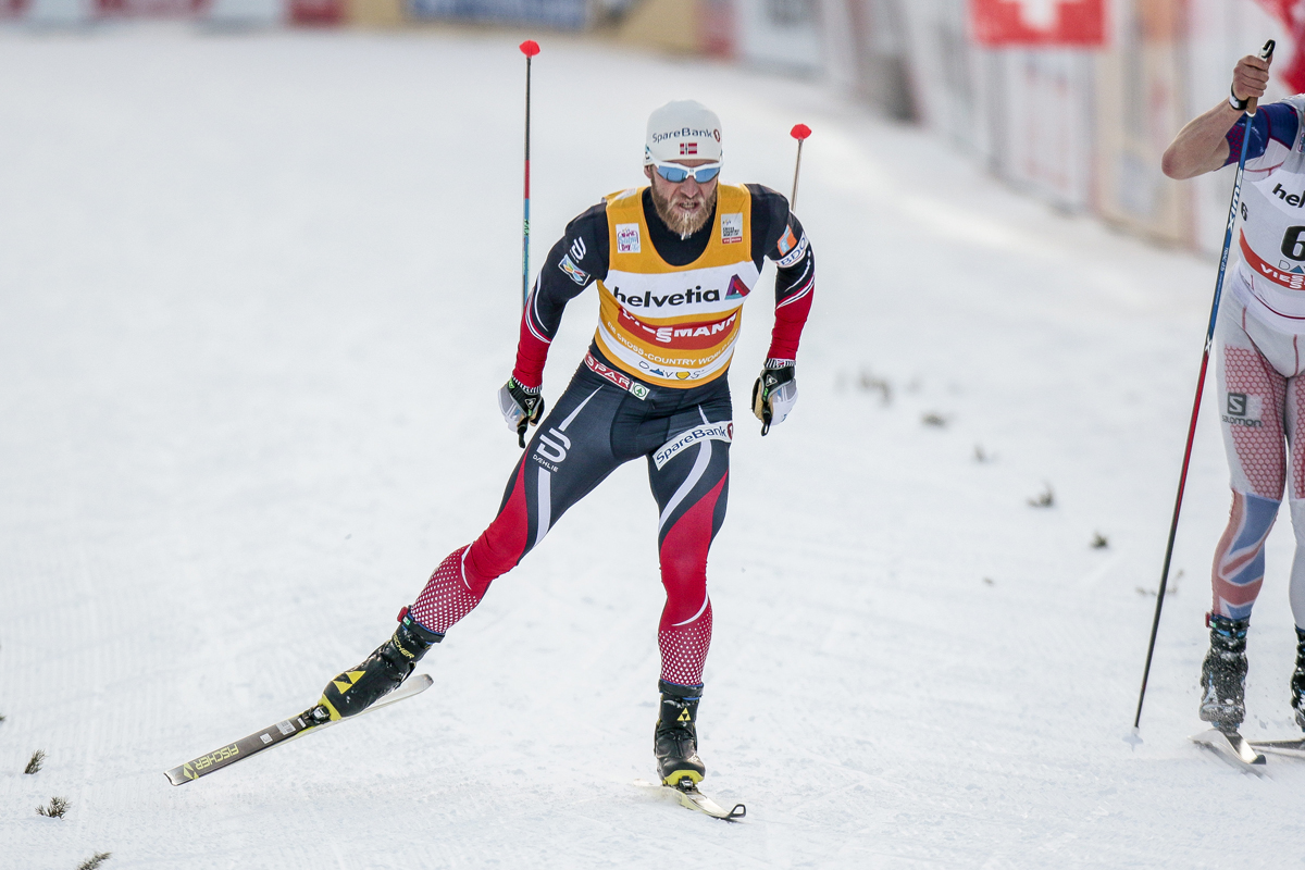 Martin Johnsrud Sundby of Norway coming into the finish for a win in the 30 k skate in Davos, Switzerland. (Photo: Fischer/NordicFocus)