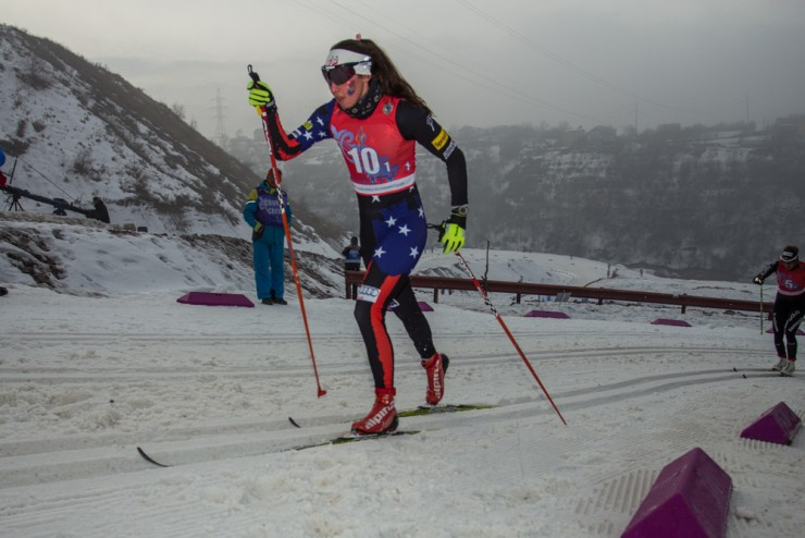 Julia Kern races the initial leg of the 4 x three.three k relay at the Junior World Championships in Almaty, Zazakhstan. The American crew would go on to spot eighth. (Photo: Logan Hanneman)