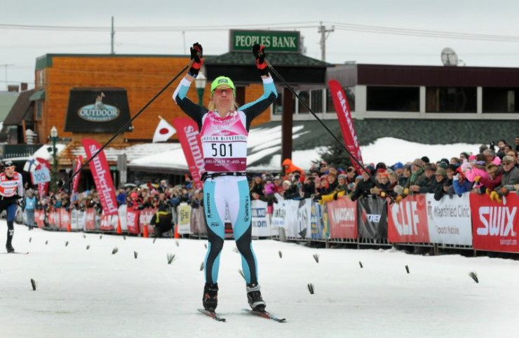 Caitlin Gregg wining the American Birkebeiner for a record 4th time! (Photograph USSA)