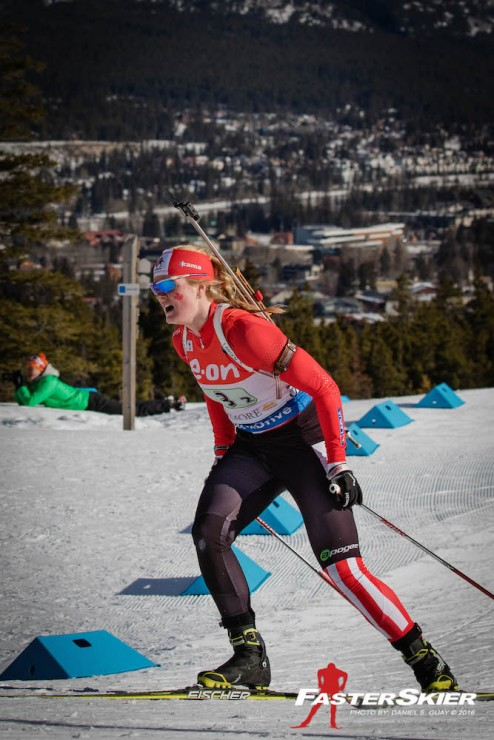Sarah Beaudry employed just one spare to clean two stages during the 2nd leg of the IBU Planet Cup mixed relay in Canmore, Alberta, to come by way of the second exchange in sixth. Canada eventually positioned sixth to tie the team's best result in the mixed relay. (Photograph: Daniel S. Guay)