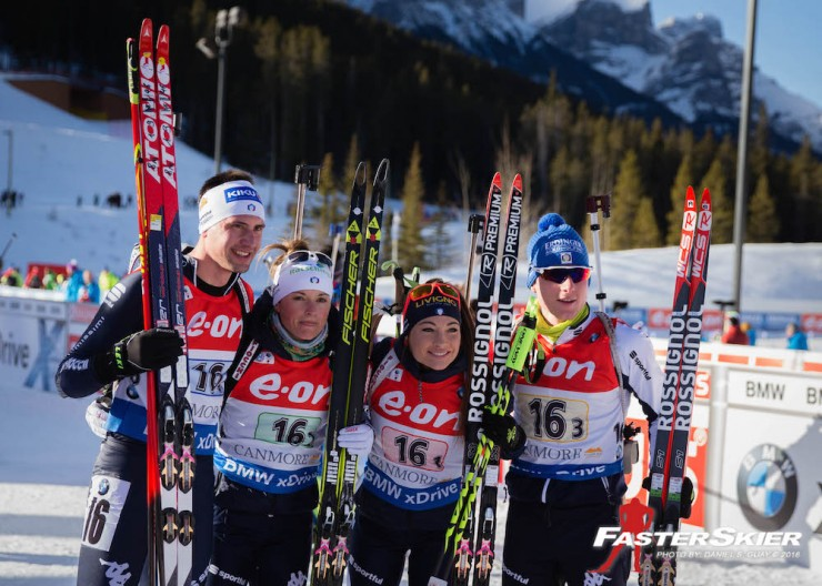 Italy positioned second in the mixed relay at the IBU Globe Cup in Canmore, Alberta, with Dorothea Wierer (second from r), Karin Oberhofer (2nd from l), Lukas Hofer (r), and Dominik Windisch. (Photo: Daniel S. Guay)