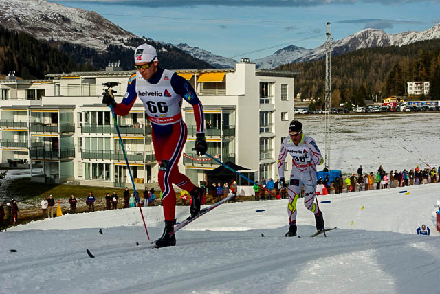 Canada's Devon Kershaw (r) attempts to catch a ride from Norway's Pal Golberg in the World Cup 15 k traditional nowadays in Davos, Switzerland. Devon passed Golberg shortly thereafter when Golberg &quotexploded.&quot