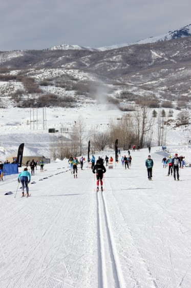 Athletes testing skis and doing pickups in the stadium at Soldier Hollow in Midway, Utah, where the U.S. Cross Country Championships will kick off with tomorrow's 10 and 15 k individual classic races.
