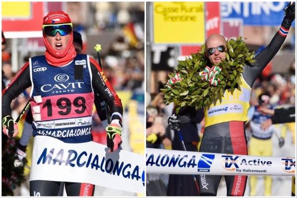 Katerina Smutna (left) and Tord Asle Gjerdalen (right) of Team Santander won the 2017 Marcialonga. (Photo: Visma Ski Classics)