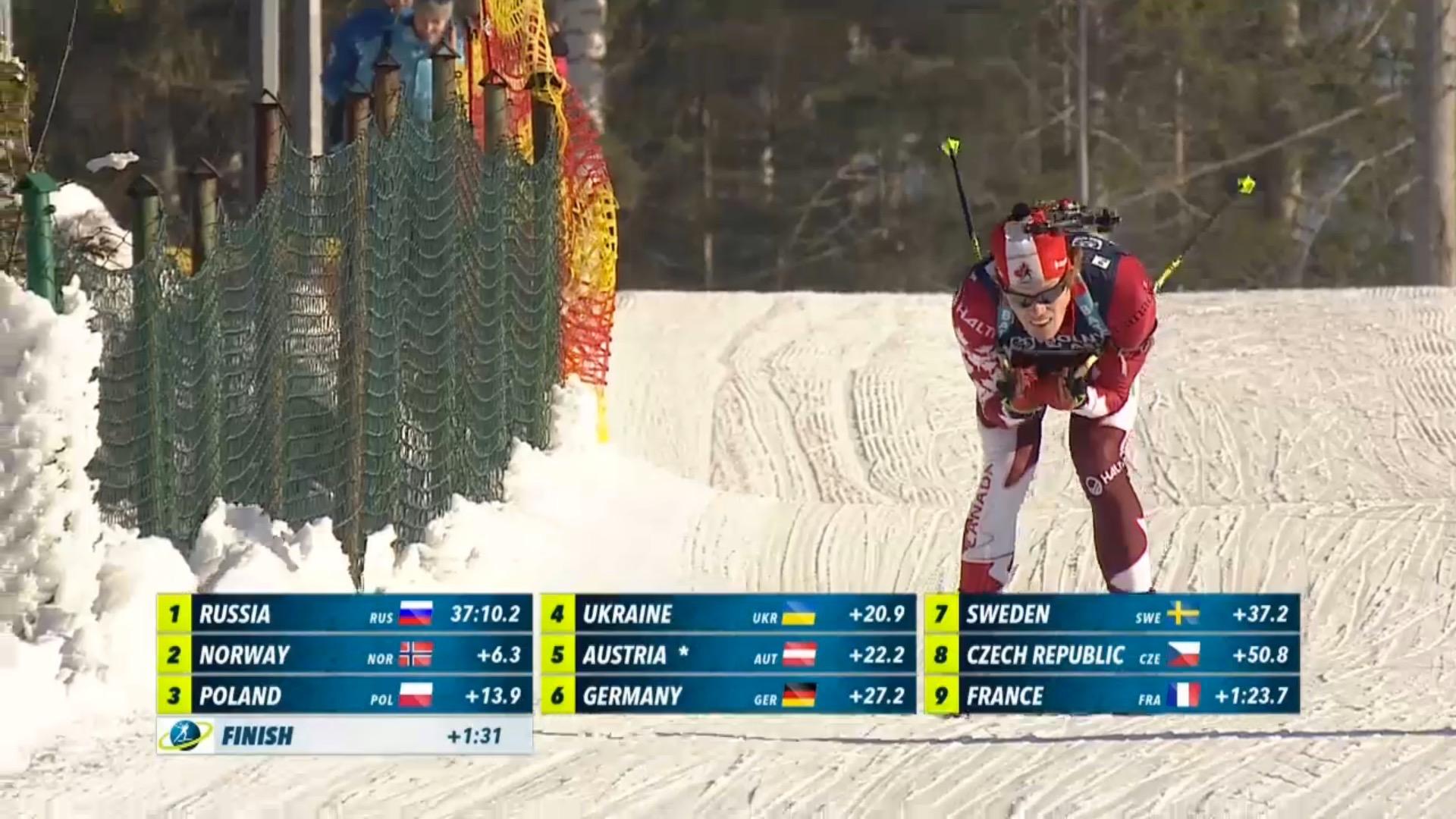 Biathlon Canada's Aidan Millar skiing the final loop of the single mixed relay at the 2017 IBU Open European Championships in Duszniki-Zdrój, Poland. With teammate Sarah Beaudry, Canada finished 13th (Photo: IBU/Eurovisionsports.tv screenshot)