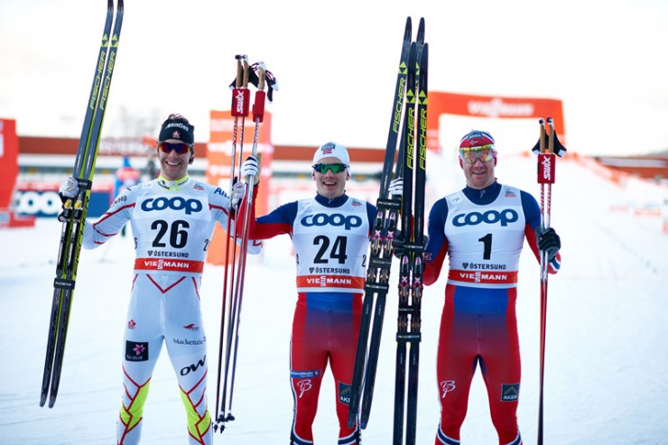 Finn Hågen Krogh (c) of Norway following winning his the World Cup traditional sprint on Saturday in Ostersund, Sweden, ahead of Canada's Alex Harvey (l) in 2nd and fellow Norwegian Timo Andre Bakken (r) in third. Krogh went on to win Sunday's 15 k skate as nicely. (Photograph: Fischer/NordicFocus)