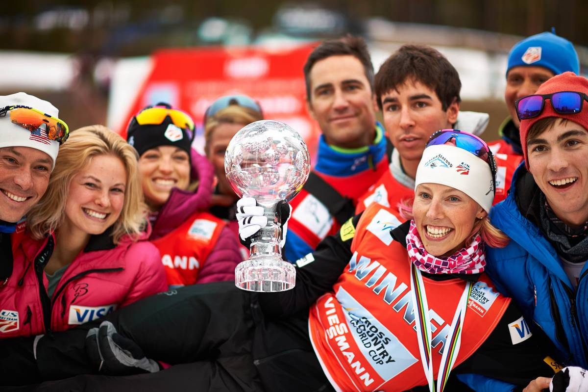 Several members of the U.S. Ski Crew lift up Kikkan Randall soon after she won her third-straight Planet Cup sprint Crystal Globe a the finish of the 2013/2014 season. (Photograph: Fischer/Nordic Emphasis)