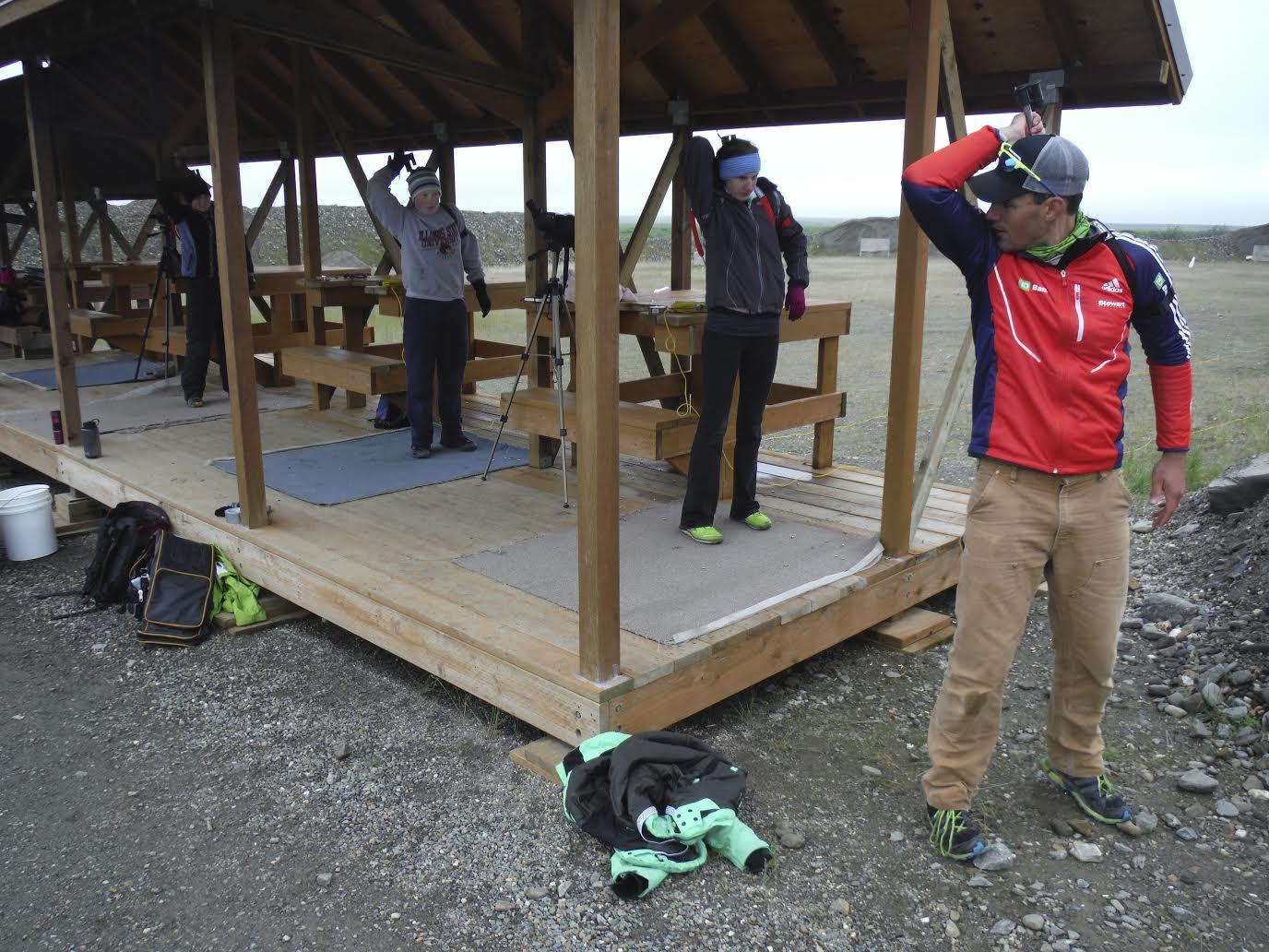 Sam Dougherty (proper) coaching a girls' biathlon clinic in Nome, Alaska. He now has a coaching internship with the U.S. national team. (Photo: Sam Dougherty)