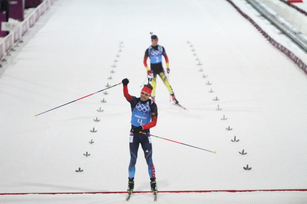 Russian anchor Anton Shipulin celebrates his team's gold medal in the men's relay over Germany's Simon Schempp. Austria was third.