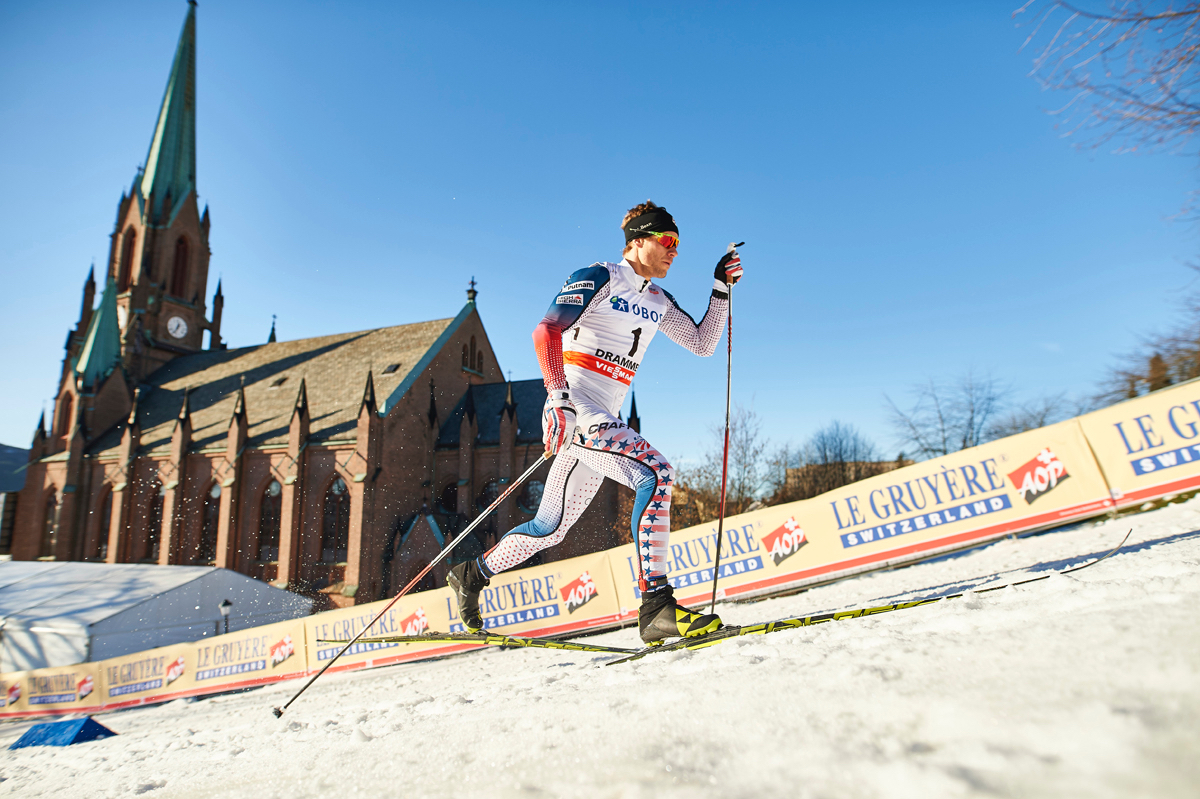 Simi Hamilton striding during a World Cup sprint in Drammen, Norway, last February. (Photo: Fischer/NordicFocus)