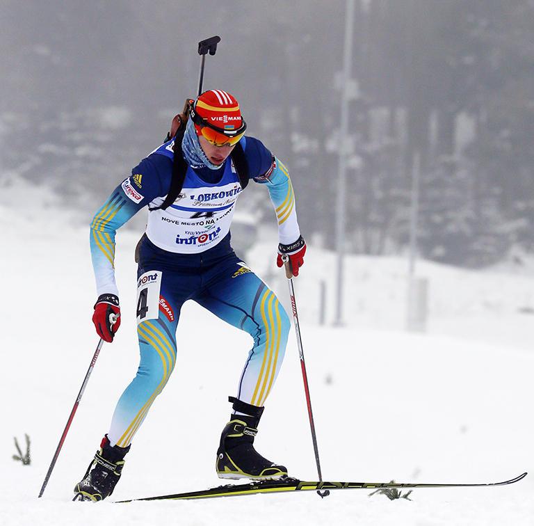 Artem Tyshchenko of Ukraine en route to finishing second in the junior men's pursuit at 2014 Open European Championships in Nove Mesto, Czech Republic. (Photo: IBU/Květoslav Frgal)