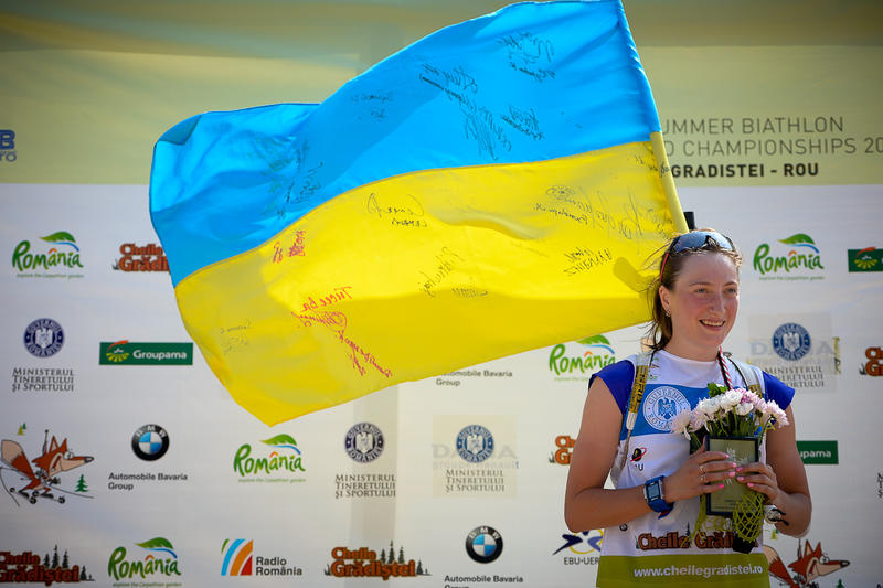 Olga Abramova after winning gold in the pursuit competition at Summer Biathlon World Championships in Romania in August 2015. She had also won the sprint. Abramova tested positive for meldonium but her urine sample had a concentration higher than the threshold; the International Biathlon Union suspended the judgement in her case until the results of WADA studies are available in September anyway. (Photo: IBU/Evgeny Tumashov)
