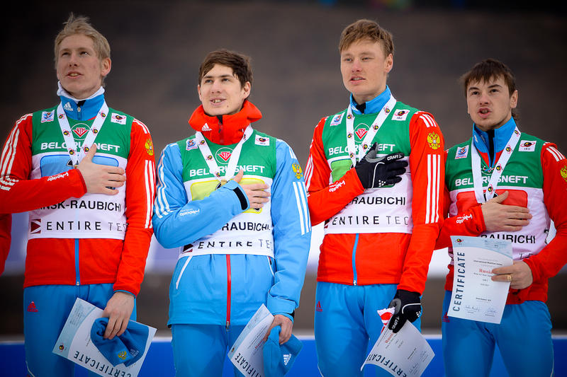 Eduard Latypov, second from left, helped his Russian team to World Junior Championships gold in 2015. His provisional suspension for a positive meldonium test has been lifted by the International Biathlon Union. (Photo: IBU/Evgeny Tumashov)