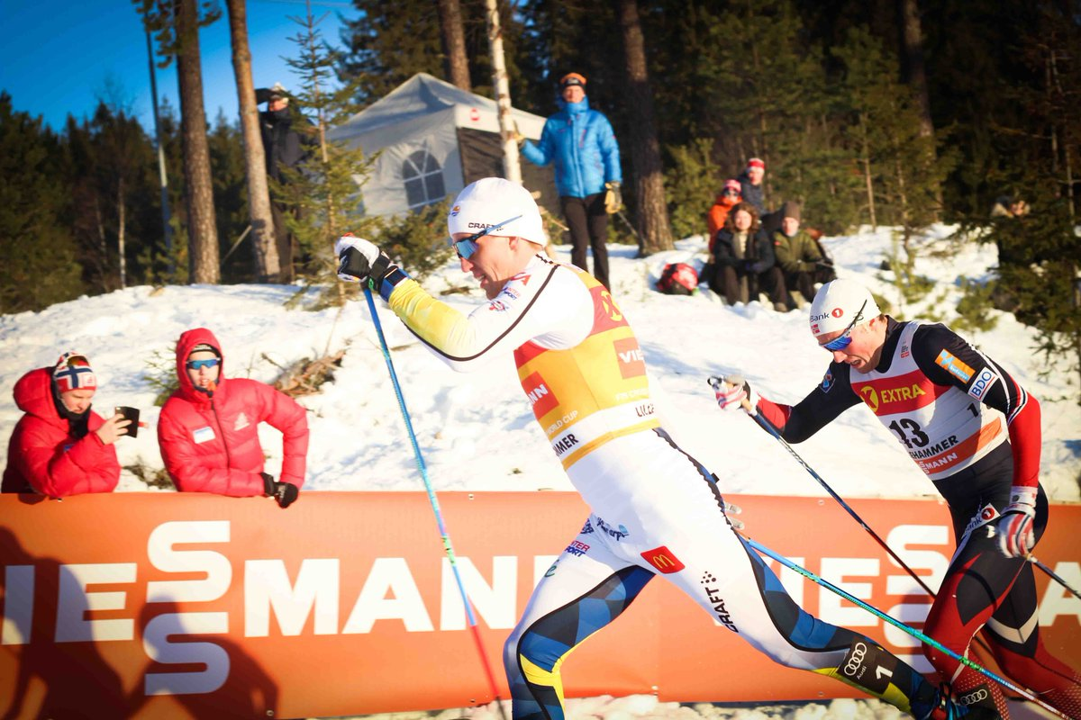 Sweden's Calle Halfvarsson racing to his first World Cup win in three years, ahead of Norway's Emil Iversen in Friday's 1.6 k classic sprint in Lillehammer, Norway. (Photo: Nordic Lillehammer/Twitter)