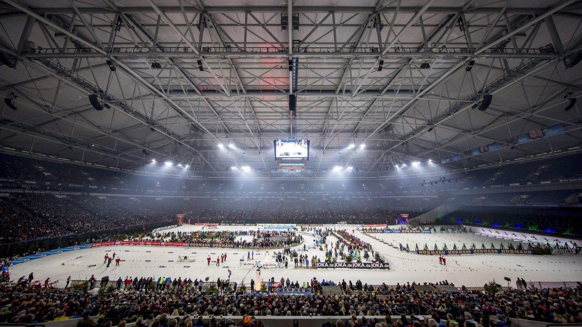 View of the indoor section of the ski track and the shooting range inside the domed Veltins Arena during the 2016 Biathlon auf Schalke invitational. (Photo: Biathlon-aufSchalke.de)