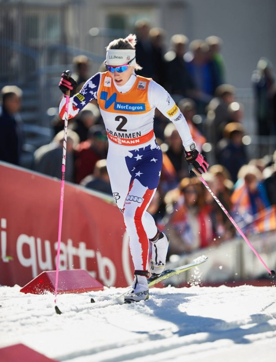 Kikkan Randall racing last season at the final Globe Cup classic sprint in Drammen, Norway. Randall, 32, will miss the 2015/2016 season as she is expecting her very first youngster. (Photograph: Fischer/NordicFocus)