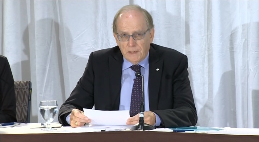Richard McLaren speaking at a news conference in Toronto on Monday regarding his WADA-commissioned report on state-sponsored doping in Russia.