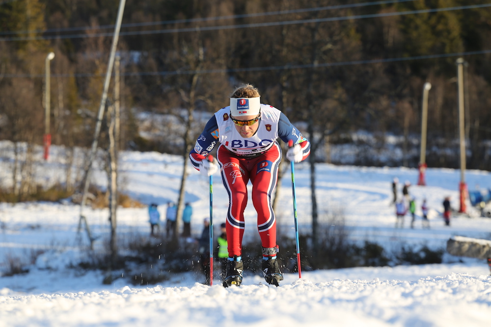Sjur Røthe (Norwegian National Team) double poling his way to a win in the first race of the 2015/2016 season, a 15 k classic FIS race in Beitostølen, Norway. (Photo: Eirik Lund Røer/SKIsport)