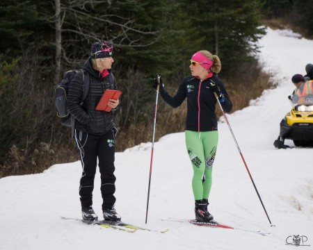 Miloucheva and Ida Sargent discussing a workout in early Nov., whilst education in Foret Montmorency, QC. (Photograph: Caitlin Patterson)