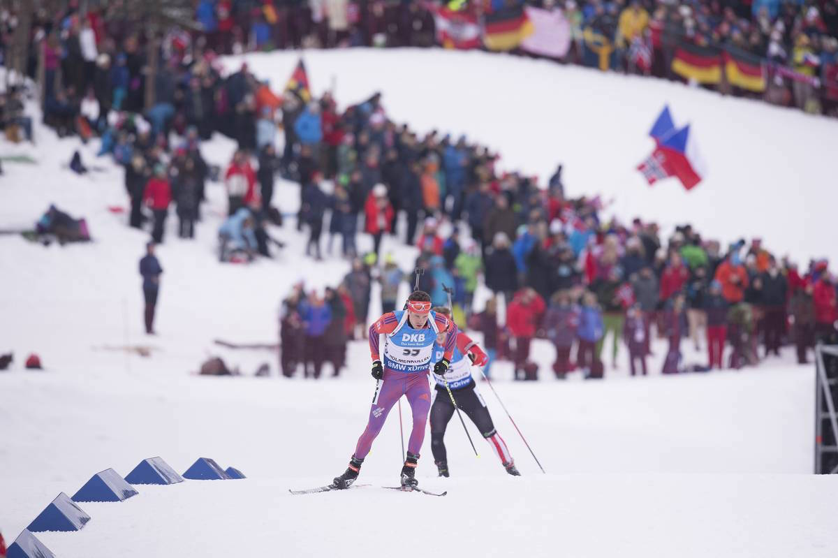 Tim Burke of the United States leads Canada's Macx Davies in the World Championships 10 k sprint in Oslo, Norway. At his first senior World Championships, Davies finished 58th, then moved up to 53rd in the pursuit. (Photo: US Biathlon/NordicFocus)