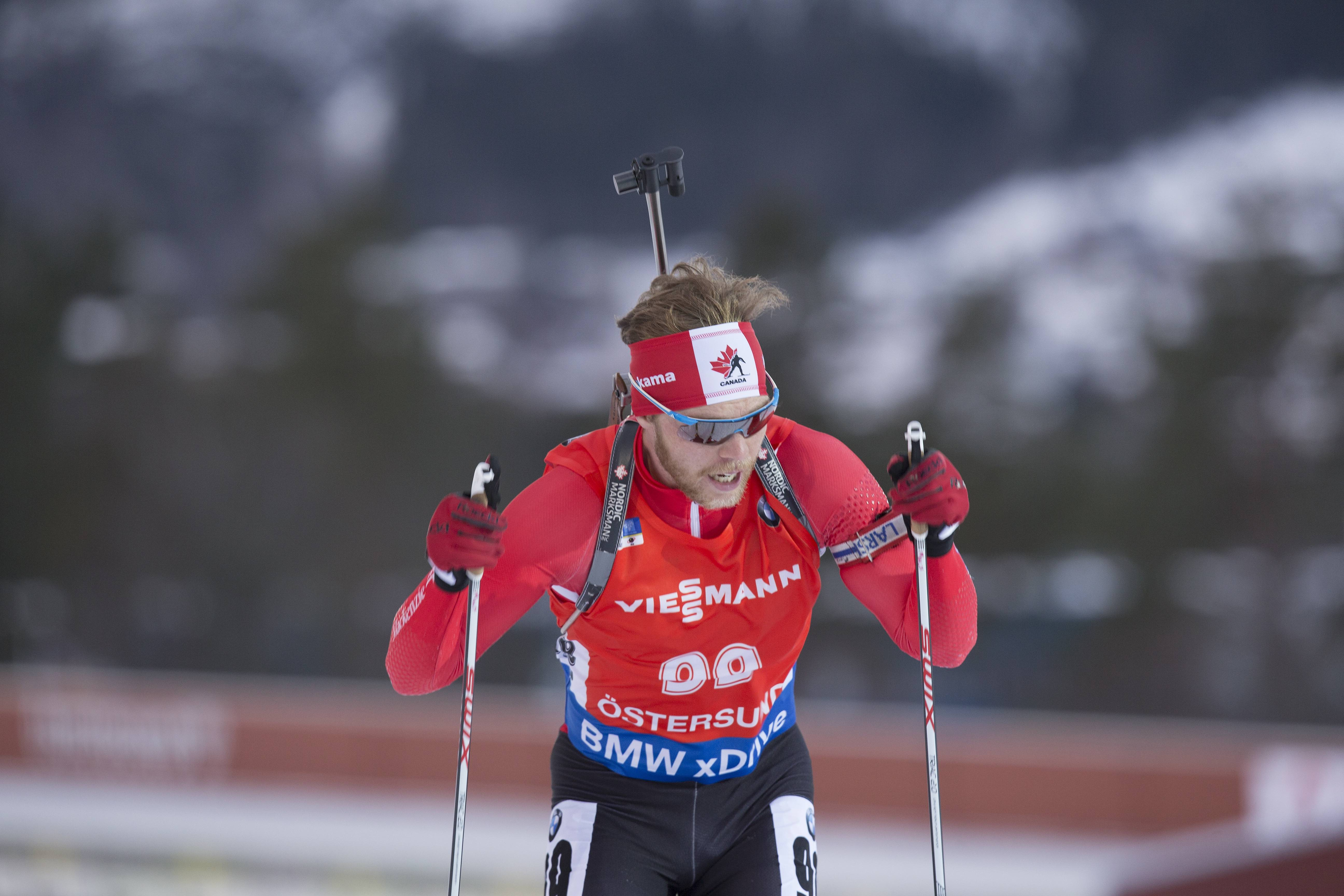 Macx Davies of Canada racing to 10th in the IBU World Cup 10 k sprint in Ostersund, Sweden, last December. It was his career-best result by 30 places. (Photo: Biathlon Canada/NordicFocus)