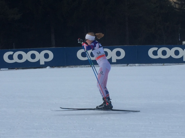Annika Taylor racing for Excellent Britain in the World Cup freestyle sprint qualifier in Toblach, Italy. She positioned 54th. (Courtesy photo)