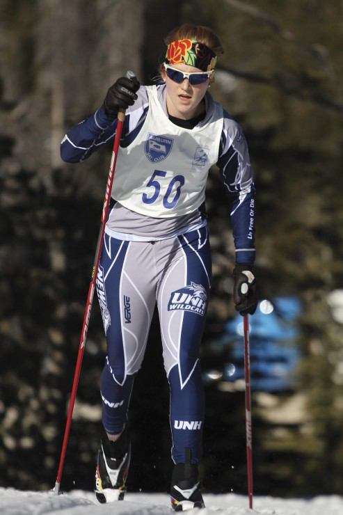 Annika Taylor, formerly of UNH, on her way to winning the women's 5 k at the 2013 Snowshoe Thompson Traditional at the Auburn Ski Club in Truckee, Calif. (Photo: Mark Nadell/macbethgraphics.com)